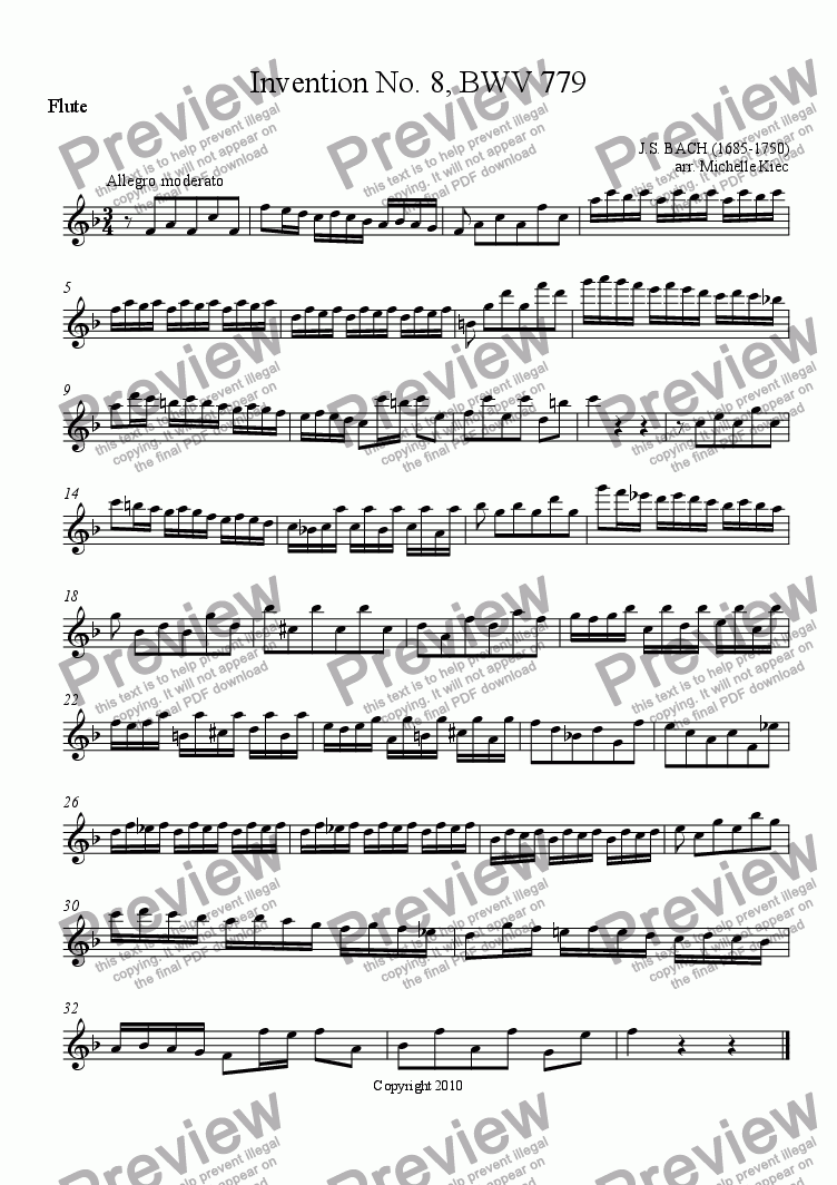 page one of the Flute part from Invention No. 8, BWV 779