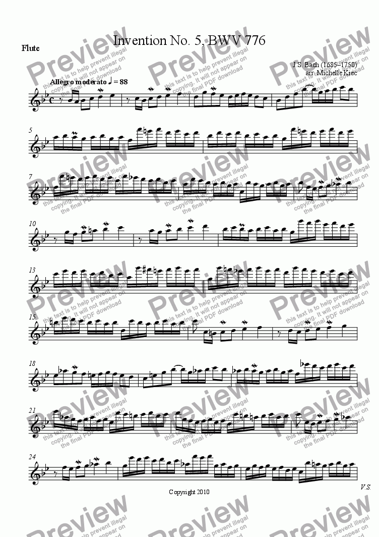 page one of the Flute part from Invention No. 5, BWV 776