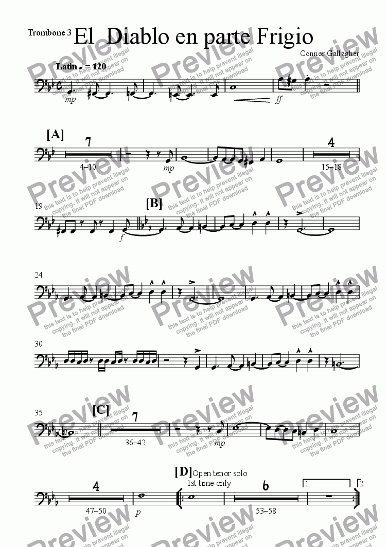 page one of the Trombone 3 part from El  Diablo en parte Frigio