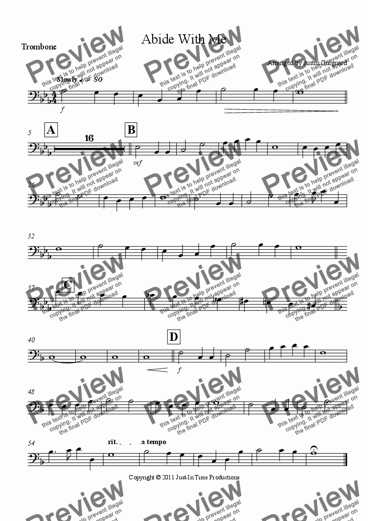 page one of the Trombone part from Abide With Me