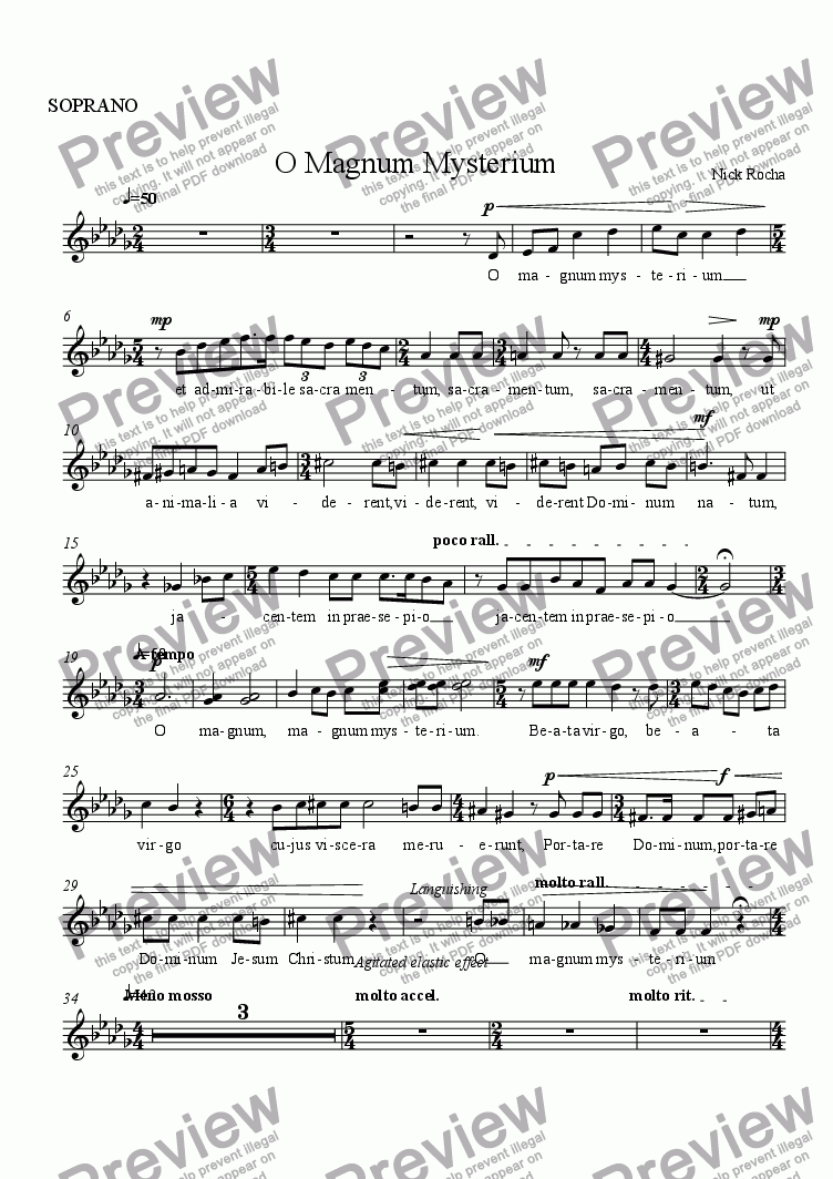 page one of the SOPRANO part from O Magnum Mysterium