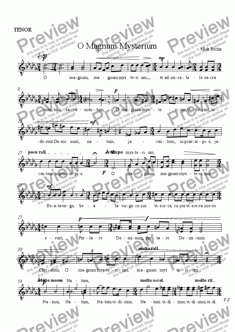 page one of the TENOR part from O Magnum Mysterium