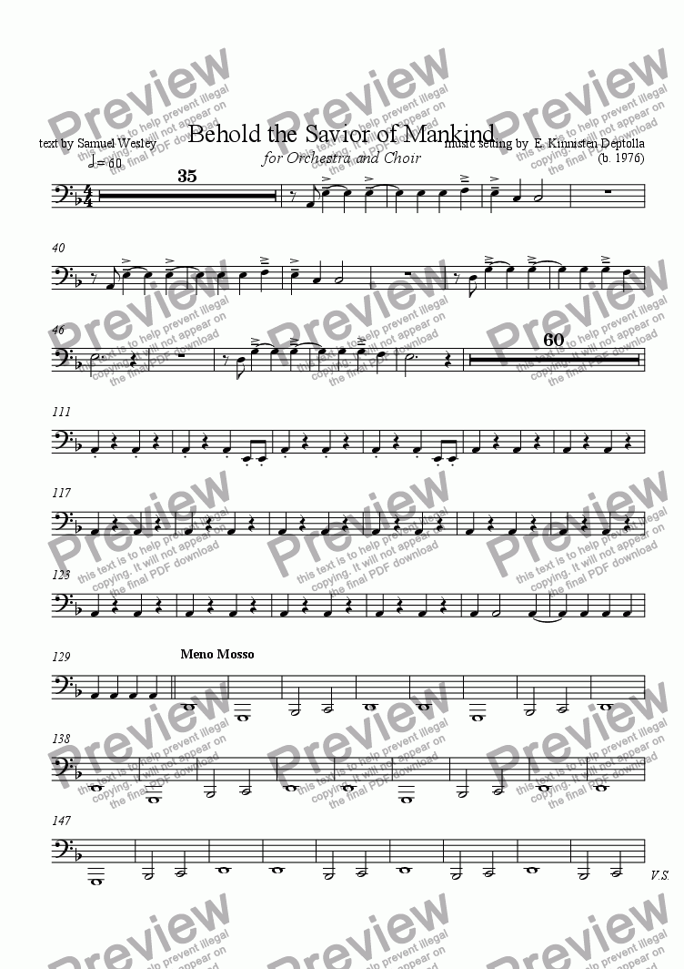 page one of the Tuba part from Behold the Savior of Mankind