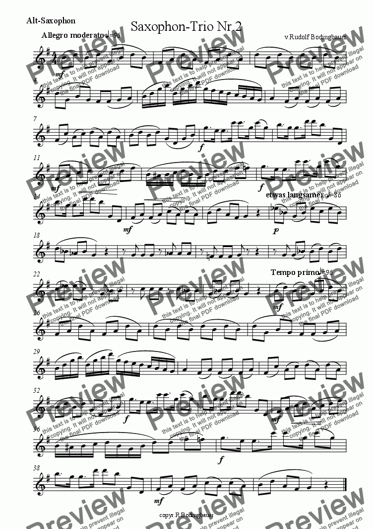 page one of the Alt-Saxophon part from Saxophon-Trio Nr. 2