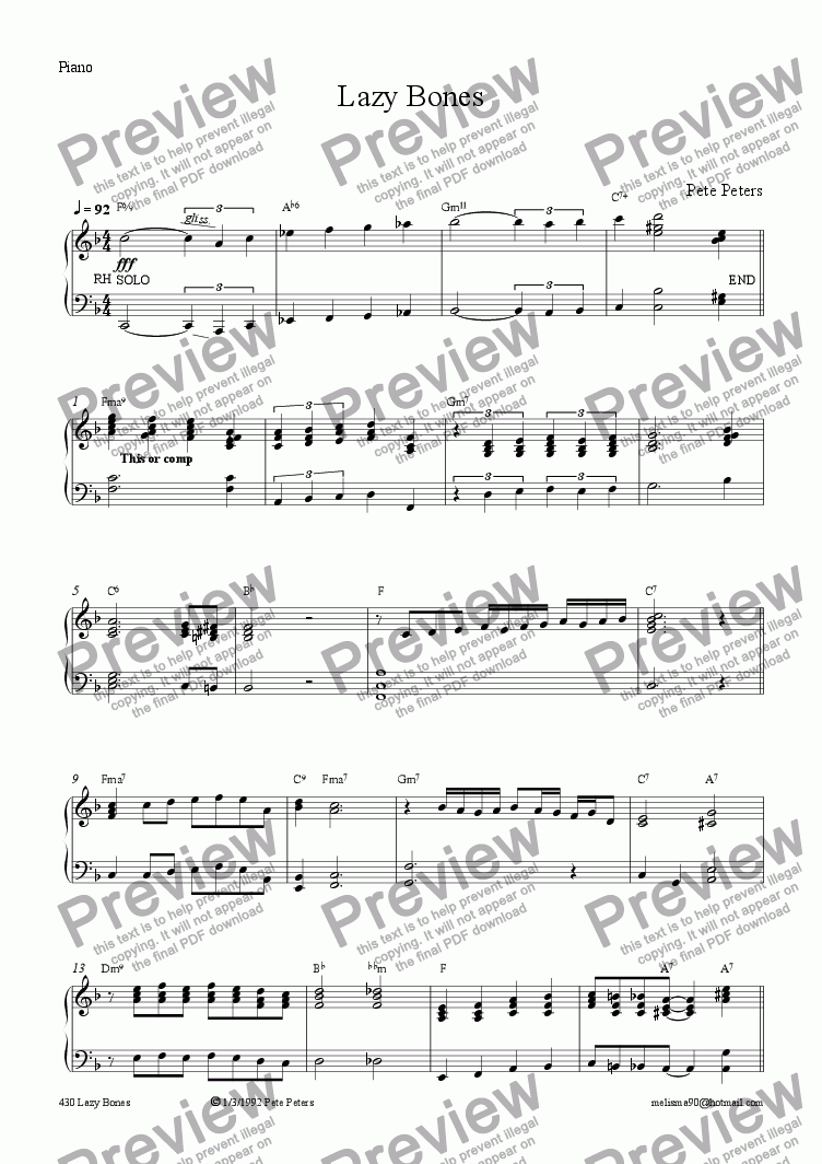 page one of the Piano part from Lazy Bones [Latin] Rec or Flute ect