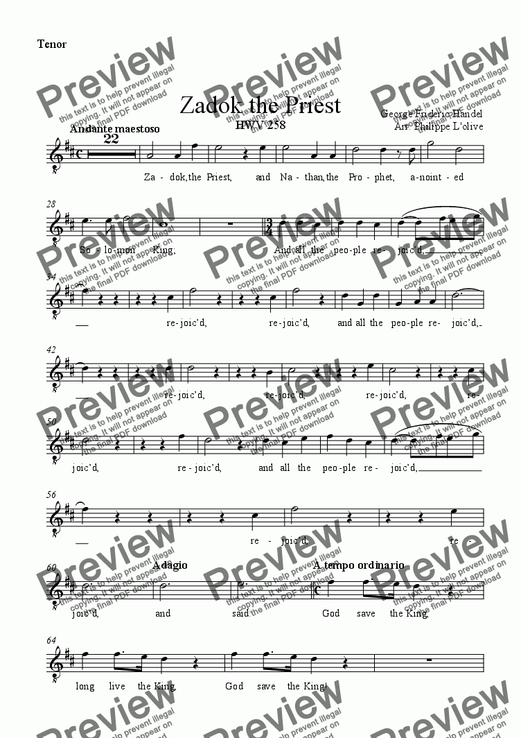 page one of the Tenor part from Zadok the Priest