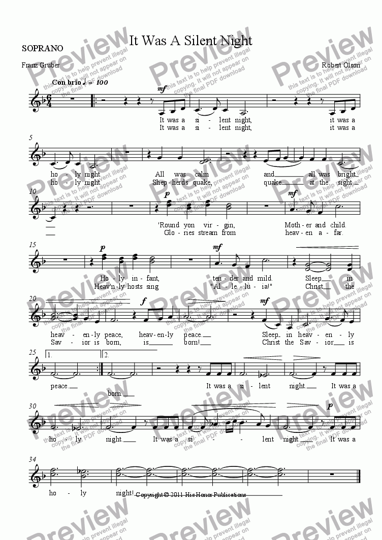 page one of the SOPRANO part from It Was A Silent Night