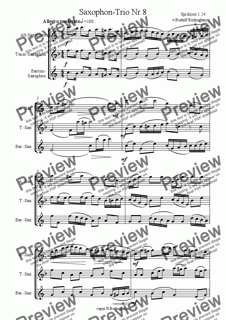 page one of the Part.2.Version part from Saxophon-Trio Nr.8