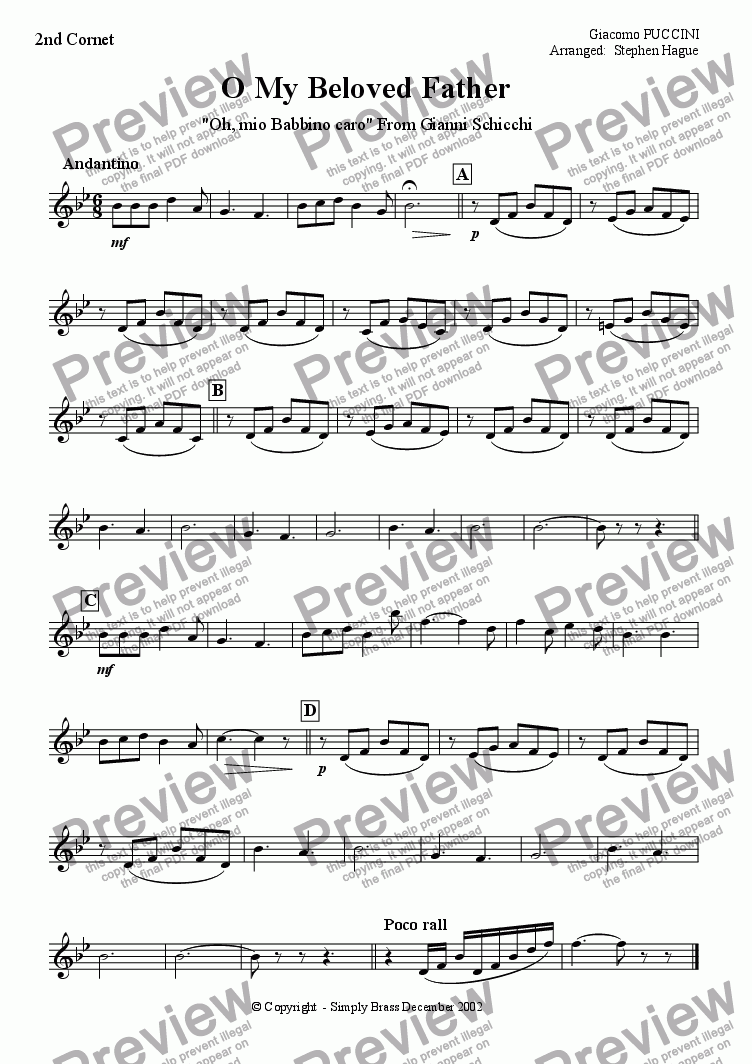 page one of the 2nd Cornet part from O My Beloved Father