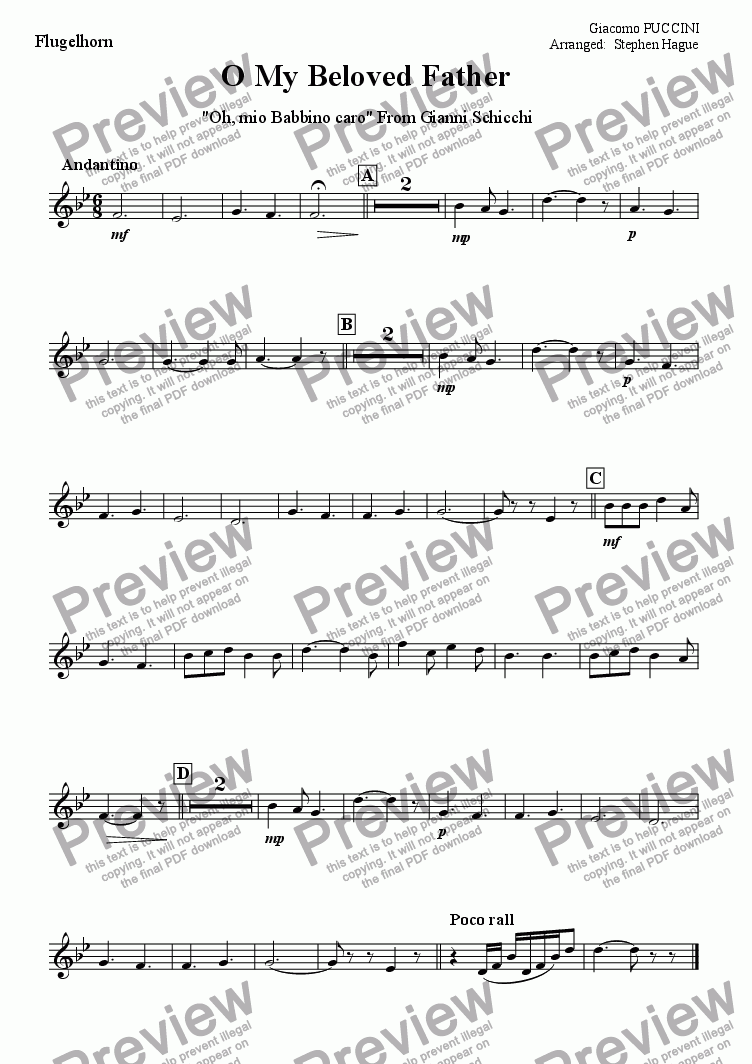 page one of the Flugelhorn part from O My Beloved Father