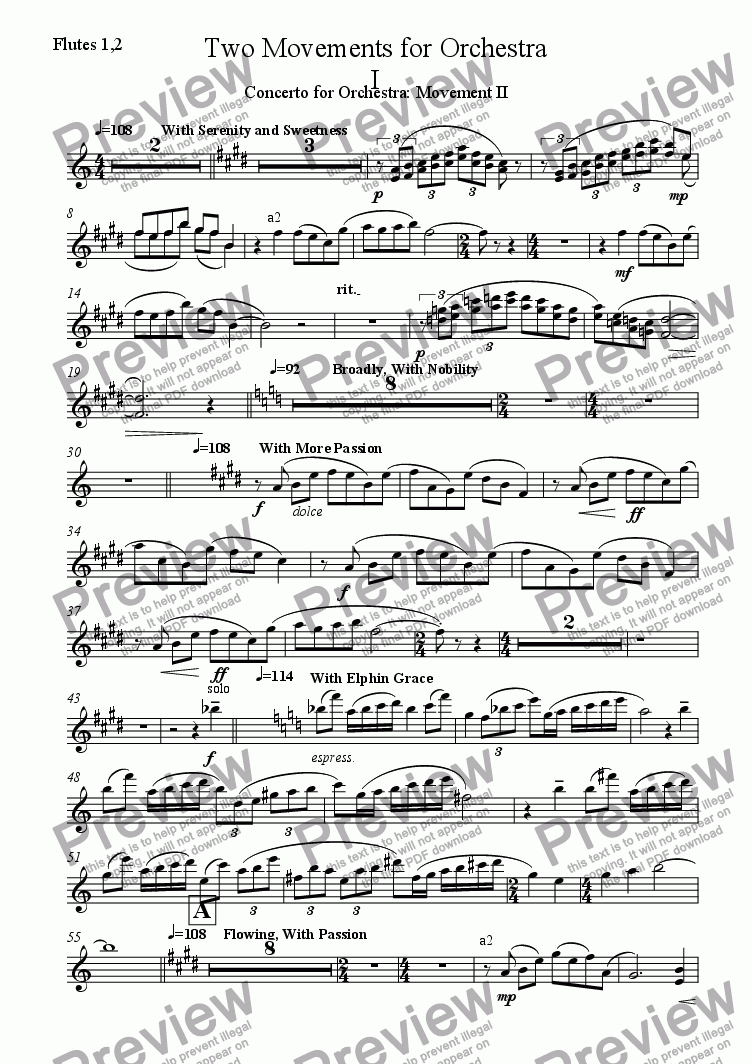 page one of the Flutes 1,2 part from Two Movements for Orchestra I