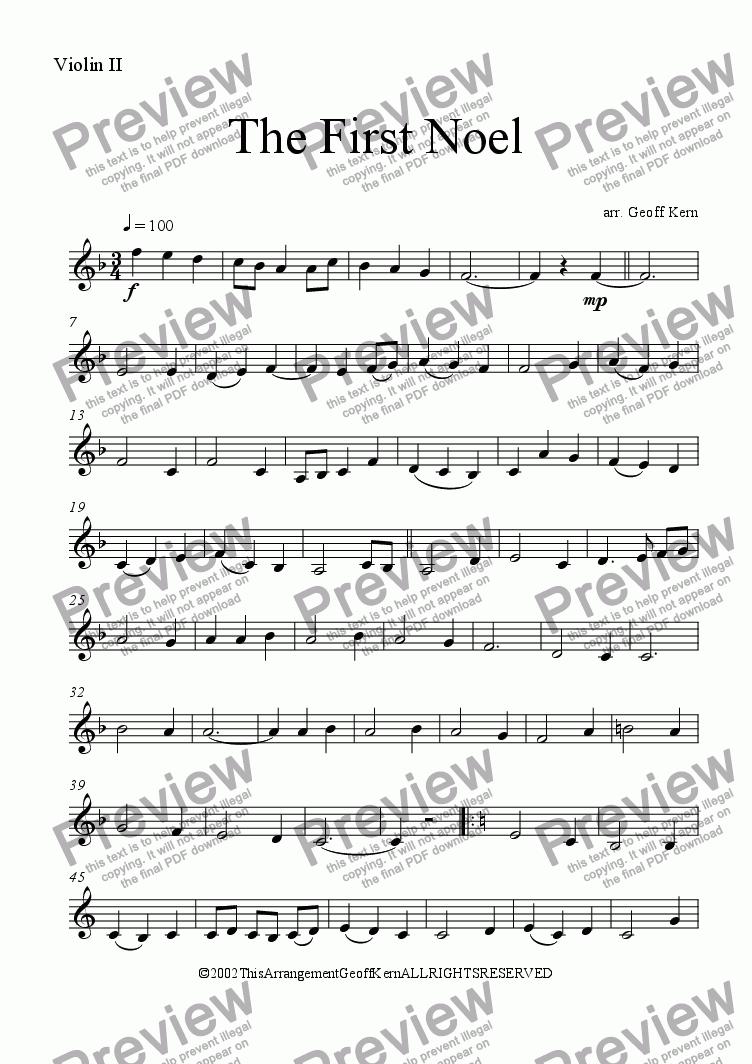 page one of the Violin II part from The First Noel