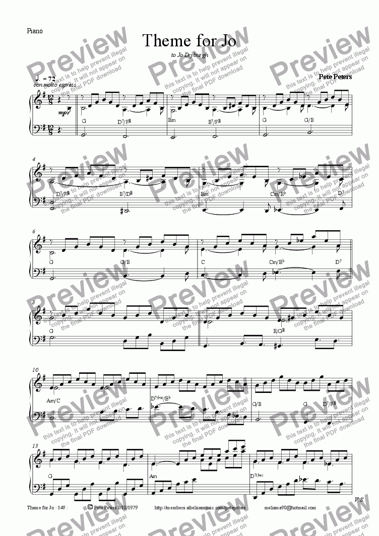 page one of the Piano part from Theme For Jo [pno solo]
