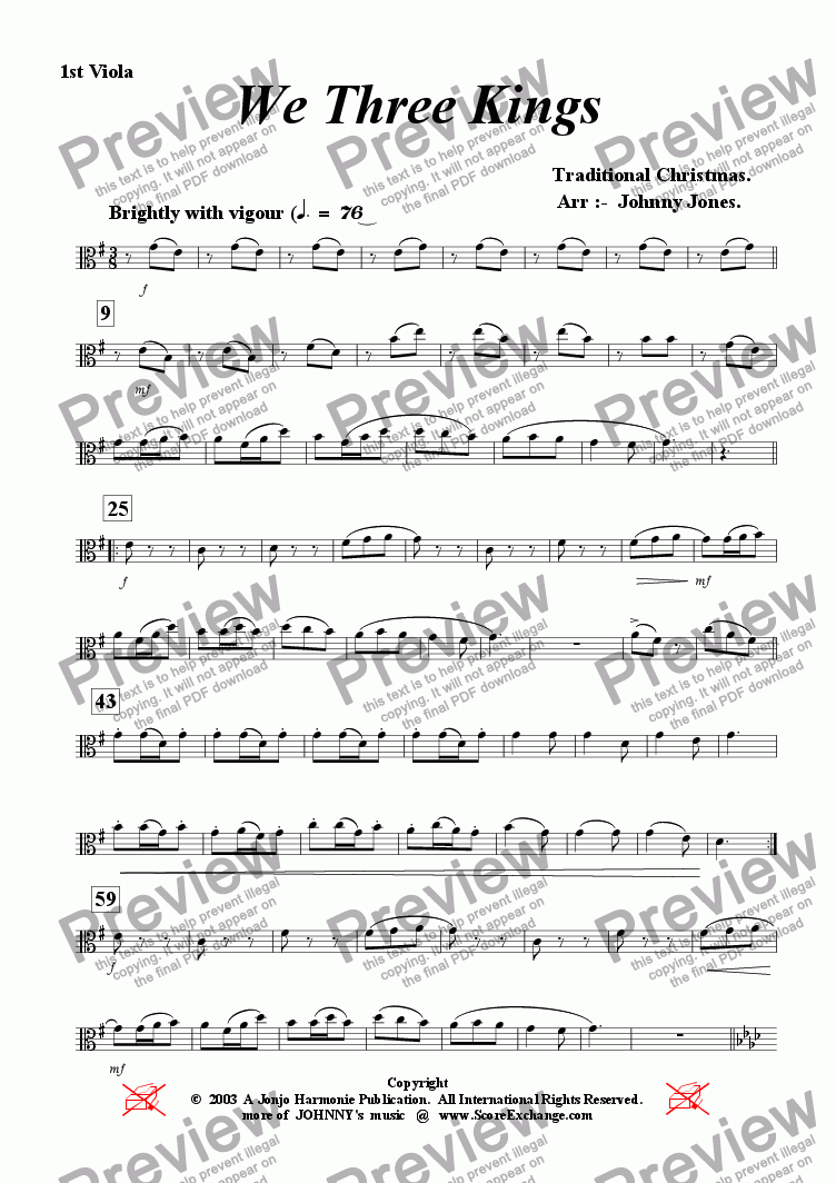 page one of the 1st Viola part from We Three Kings