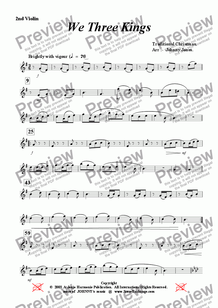 page one of the 2nd Violin part from We Three Kings