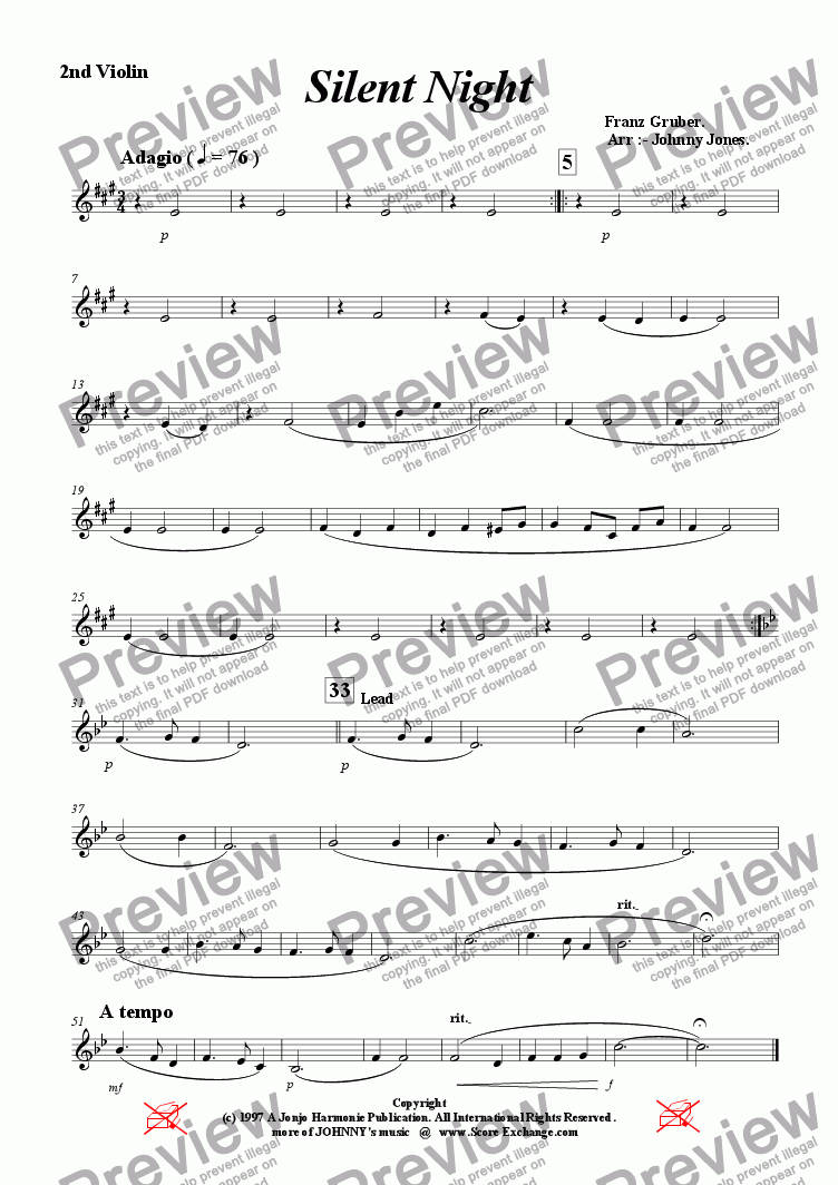 page one of the 2nd Violin part from Silent Night