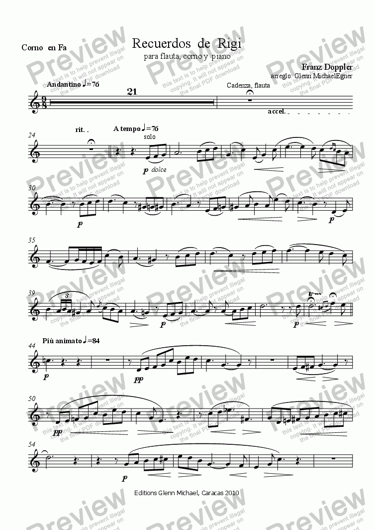 page one of the Corno  en Fa part from Doppler, Trio for Horn, Flute &  Piano