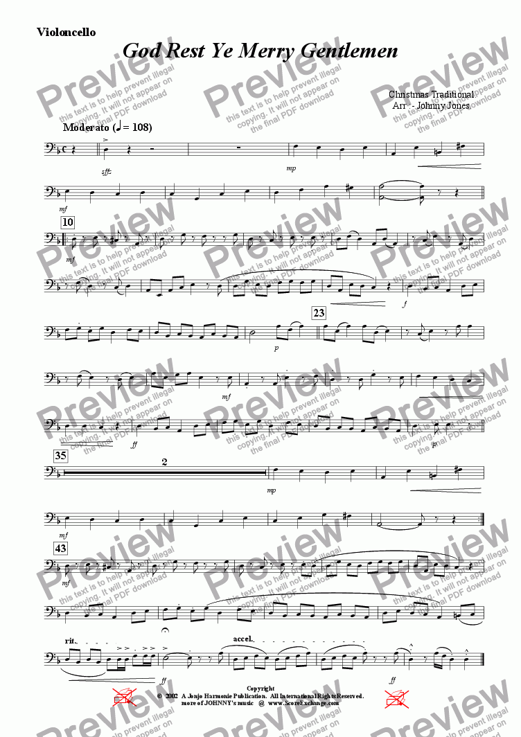 page one of the Violoncello part from God Rest Ye Merry Gentlemen