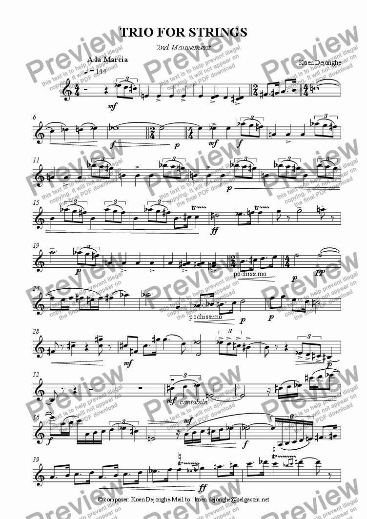 "page one of the Violin part from ""Trio For Strings (2nd mouvt)"""