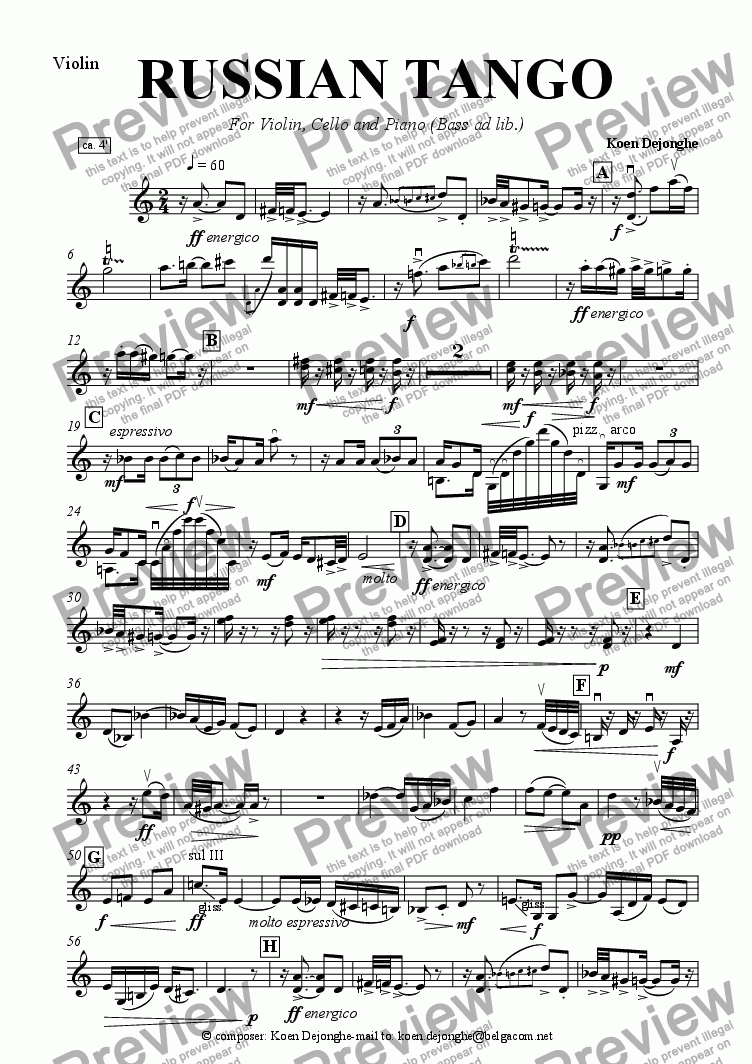 "page one of the Violin part from ""A Russian Tango For Pianotrio (bass ad lib.)"""