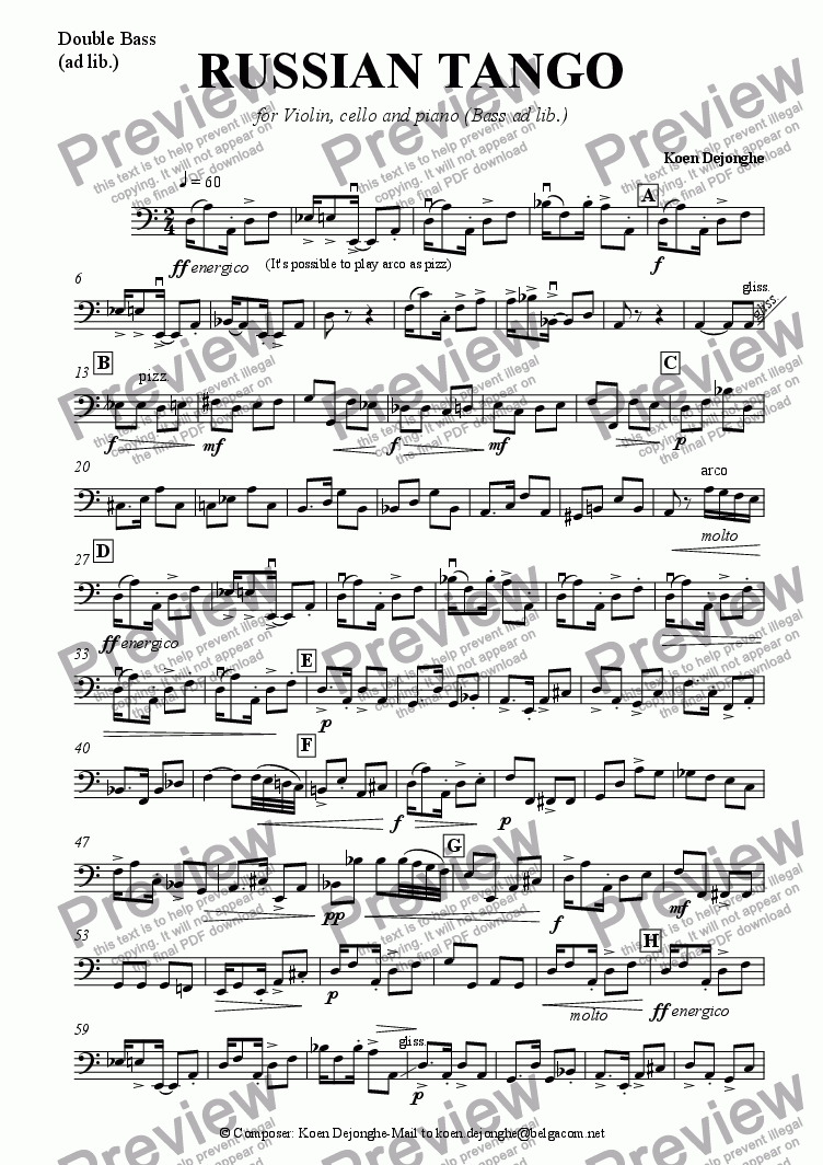 "page one of the Double bass part from ""A Russian Tango For Pianotrio (bass ad lib.)"""