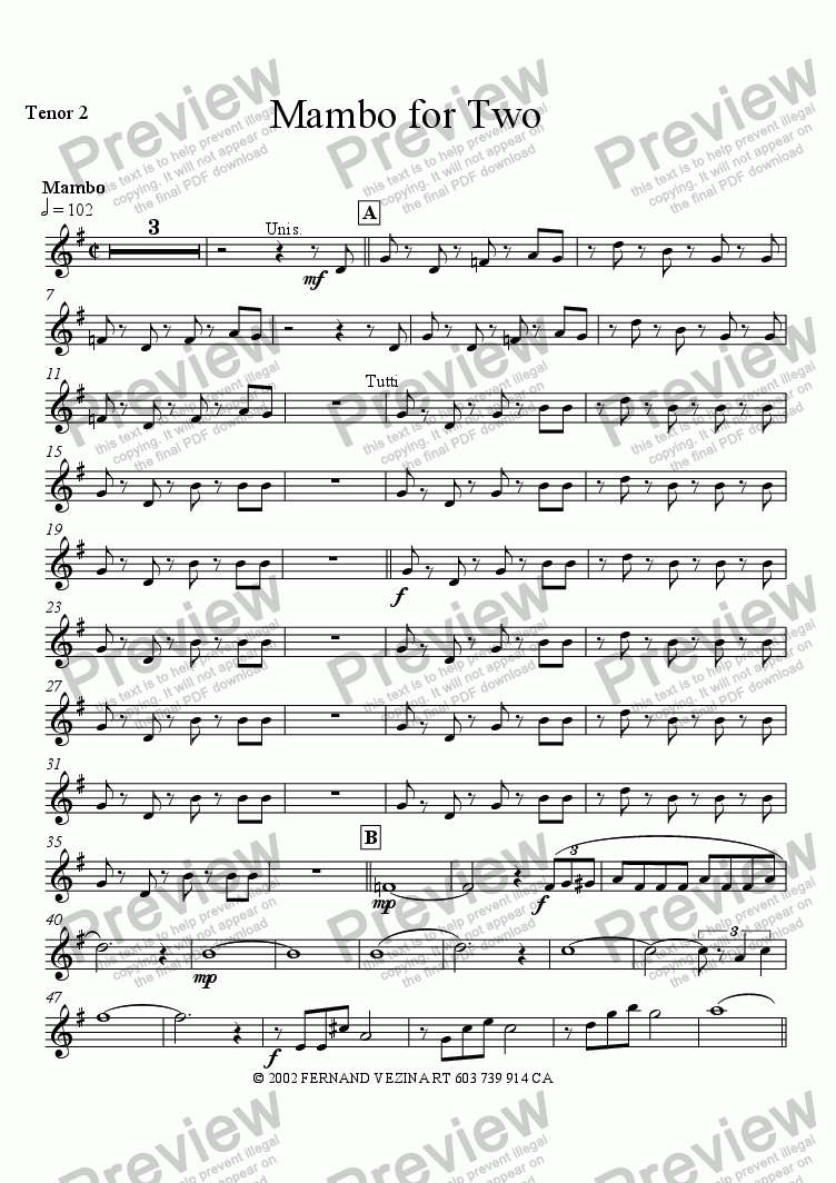 page one of the Tenor Sax 2 part from Mambo for Two