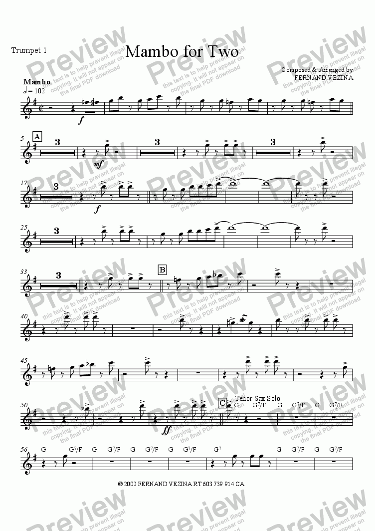 page one of the Trumpet 1 part from Mambo for Two