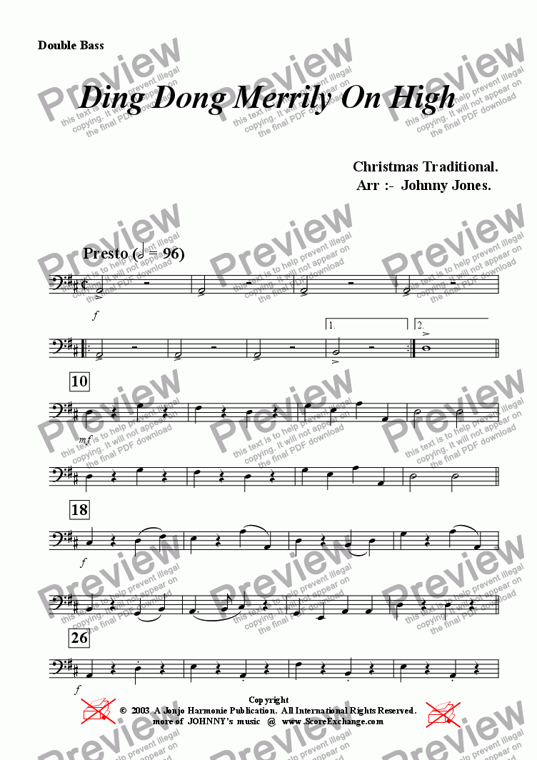 page one of the Double Bass part from Ding Dong Merrily On High