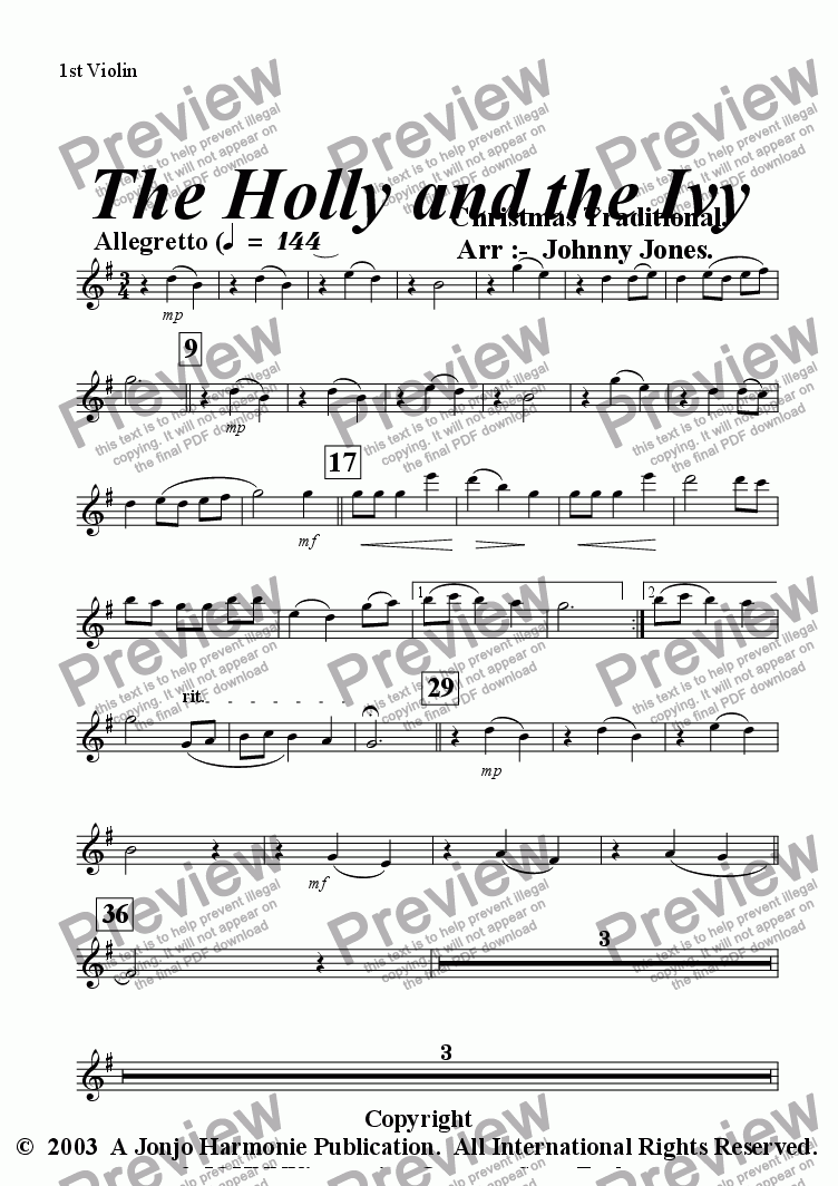 page one of the 1st Violin part from Holly and the Ivy The