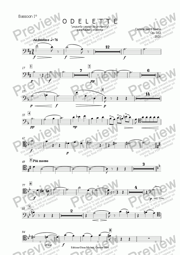 page one of the Bassoon I° part from Saint Saens, ODELETTE  flauta y orquesta