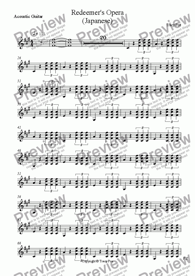 page one of the Acoustic Guitar part from Song 349 Redeemers Opera (Japanese)
