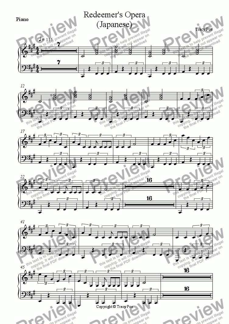 page one of the Piano part from Song 349 Redeemers Opera (Japanese)