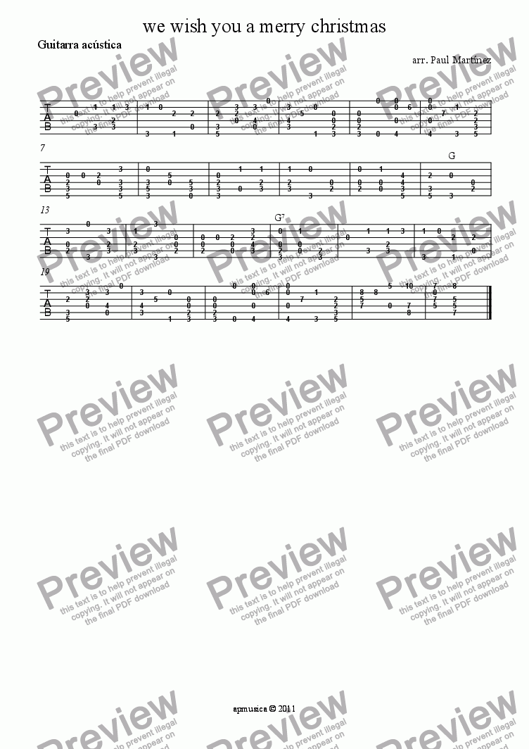 page one of the Guitarra acústica part from we wish you a merry christmas