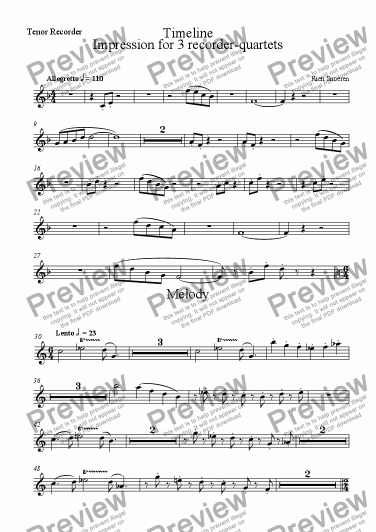 page one of the Tenor Recorder part from Impression for 3 recorder-quartets