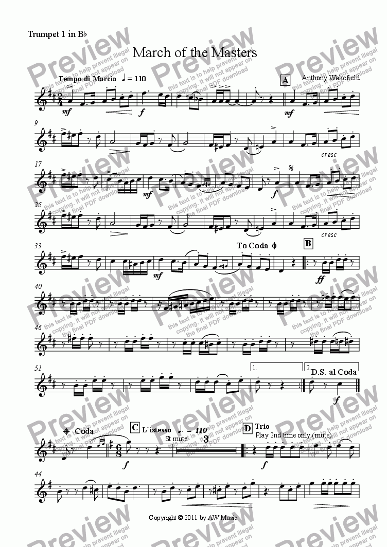 page one of the Trumpet 1 in Bb part from March of the Masters