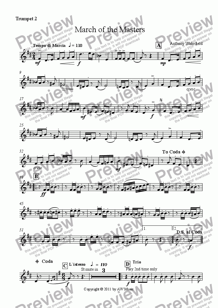 page one of the Trumpet 2 in Bb part from March of the Masters