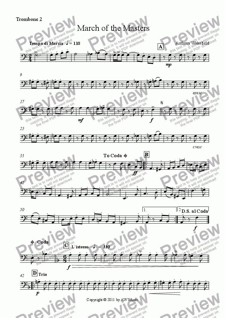 page one of the Trombones 2 part from March of the Masters