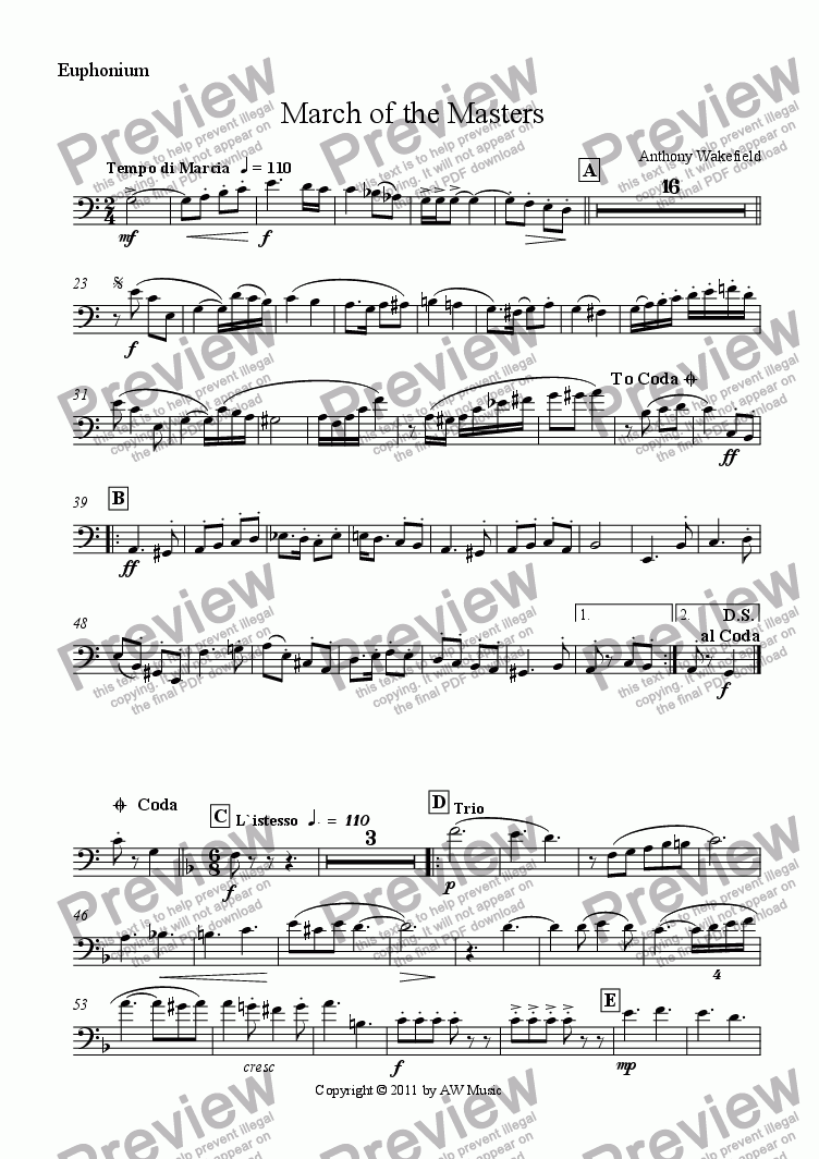 page one of the Euphonium part from March of the Masters