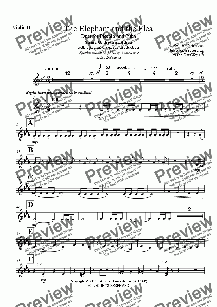 page one of the Violin II part from The Elephant and the Flea (String Orchestra)