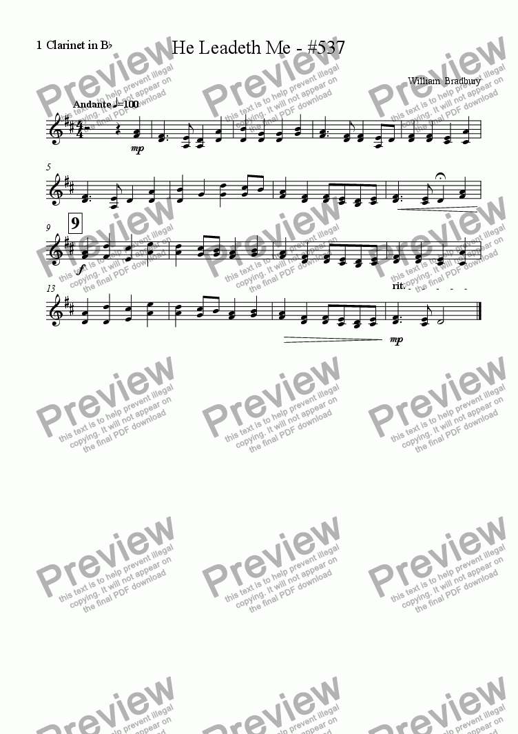 page one of the 1 Clarinet in B^b part from He Leadeth Me - #537