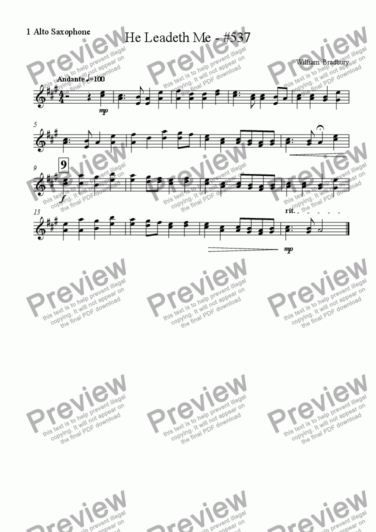 page one of the 1 Alto Saxophone part from He Leadeth Me - #537