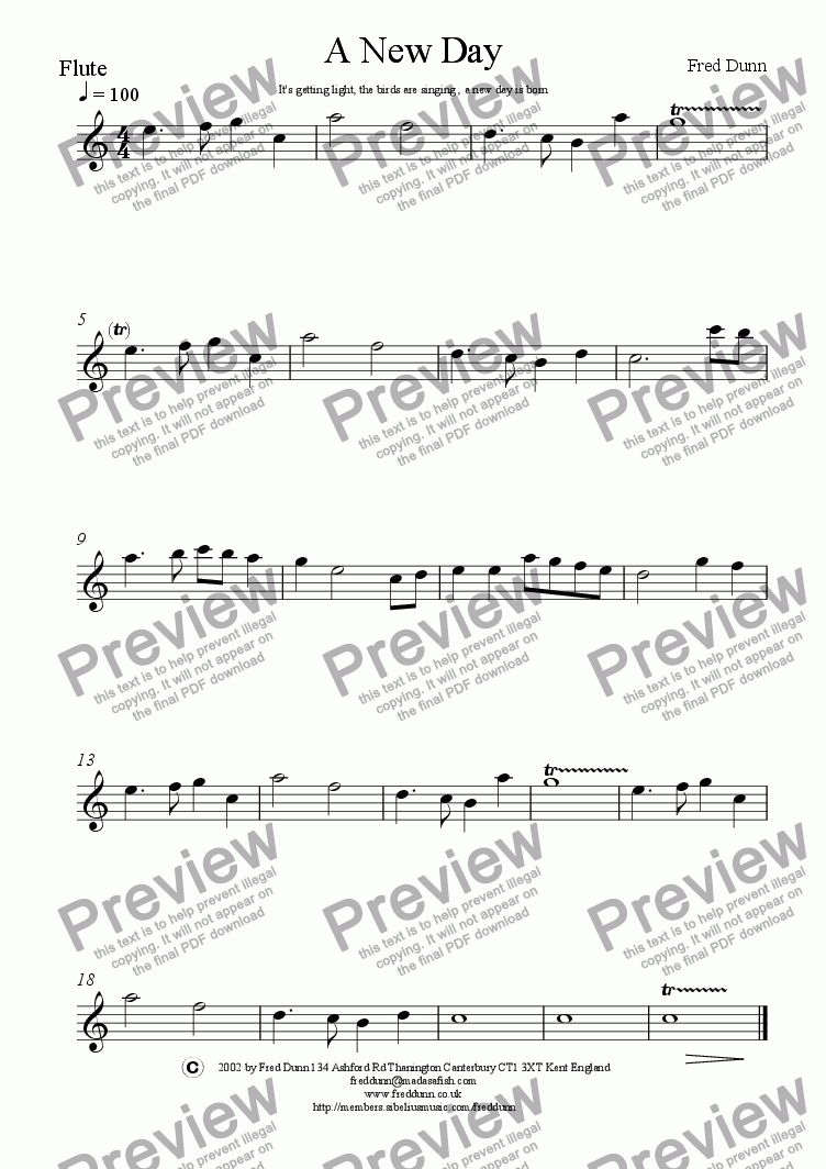 page one of the flute part from A New Day