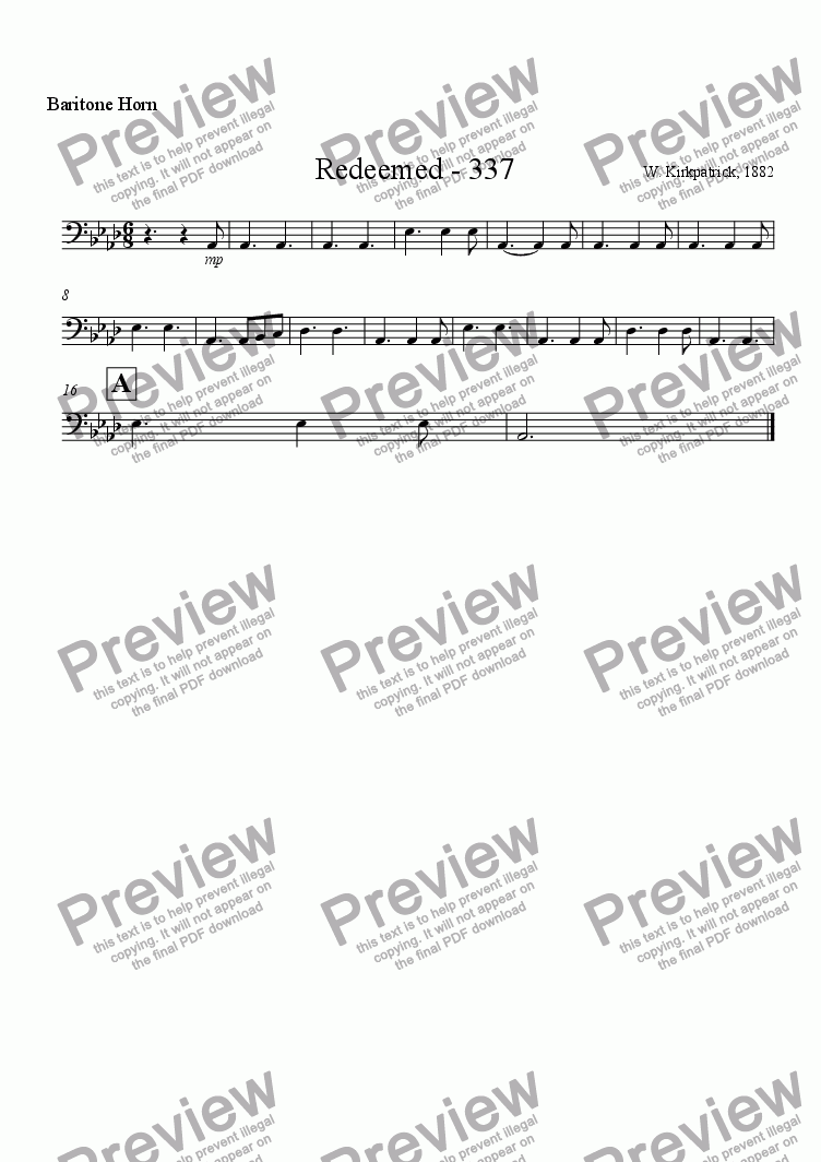 page one of the Baritone Horn part from Redeemed - 337