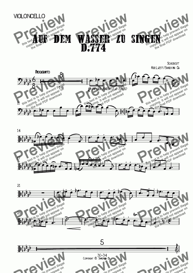 page one of the Violoncello part from <b>Auf dem Wasser zu singen D.774</b> for Cello and Piano