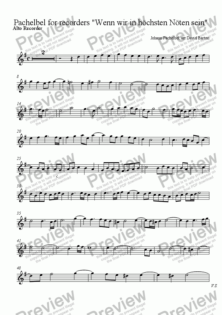 "page one of the Alto Recorder part from Pachelbel for recorders ""Wenn wir in höchsten Nöten sein"""