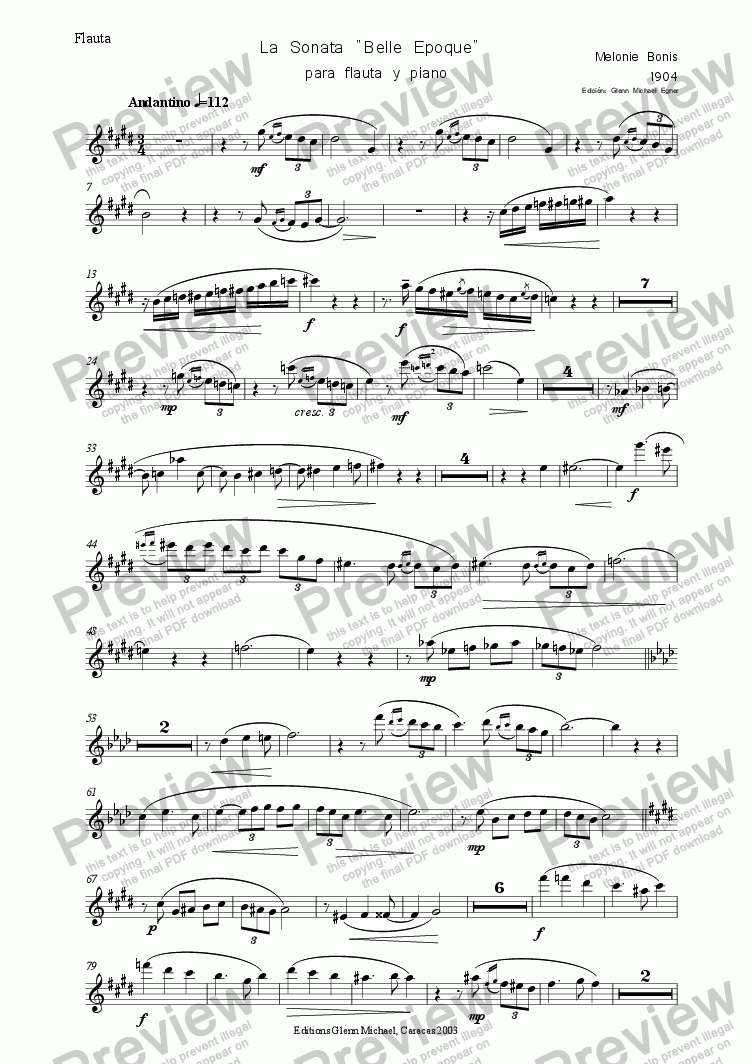 "page one of the Flauta part from Sonata ""Belle Epoque""  para flauta y piano"