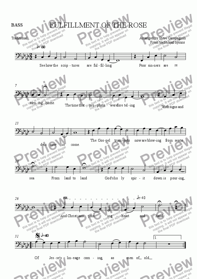 page one of the BASS part from FULFILLMENT OF THE ROSE