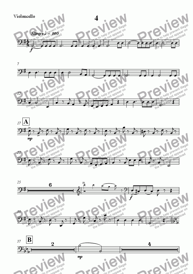 page one of the Violoncello part from Symphony No. 5 - Movt 4