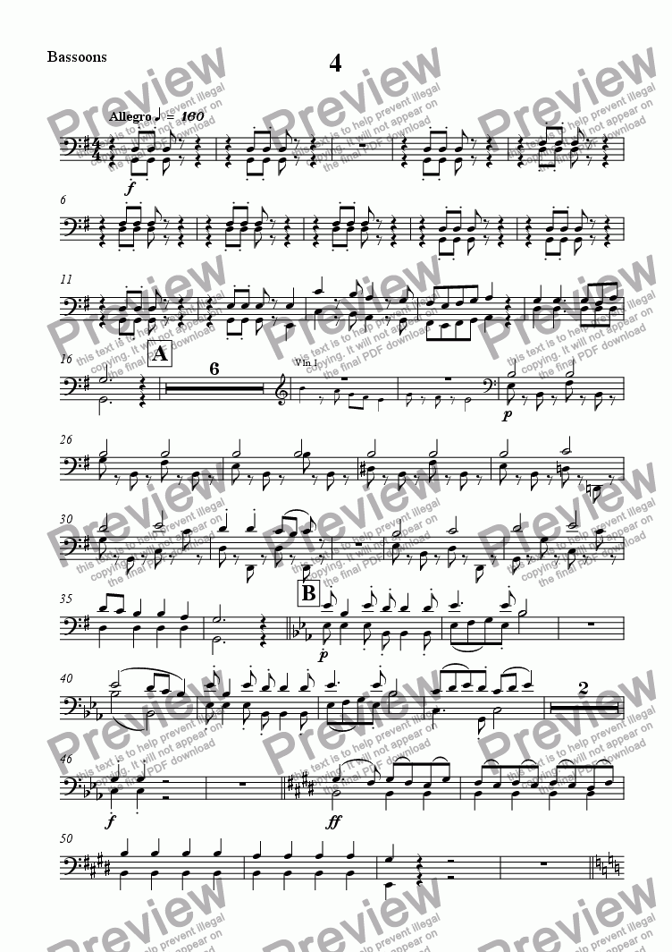 page one of the Bassoons part from Symphony No. 5 - Movt 4