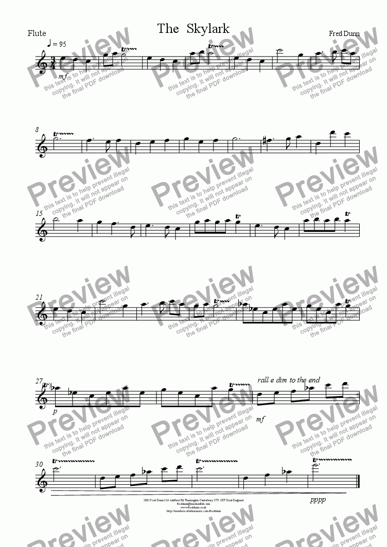 page one of the flute part from The Skylark